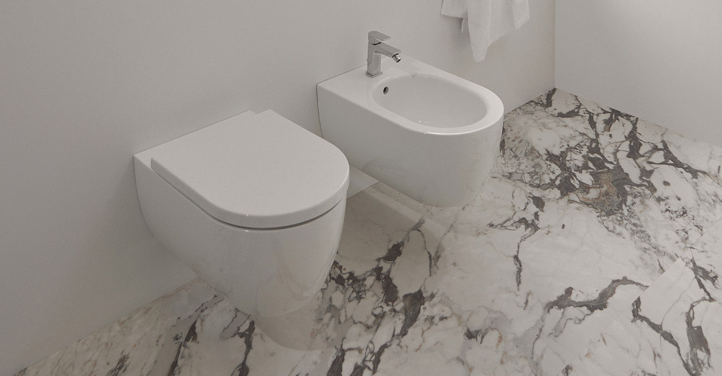 Photo de la collection Blend Curve mise en ambiance montrant un bidet et un WC suspendus