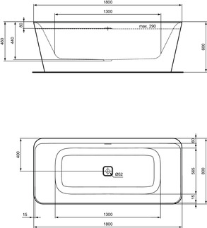 IS_TonicII_E3981_PrListDrw_NN_bathtub180x80;Freestanding